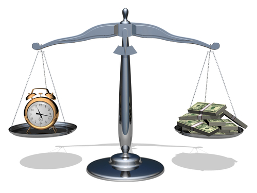 The relationship between time and money.Conceptual image.